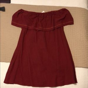 Maroon off the shoulder dress!